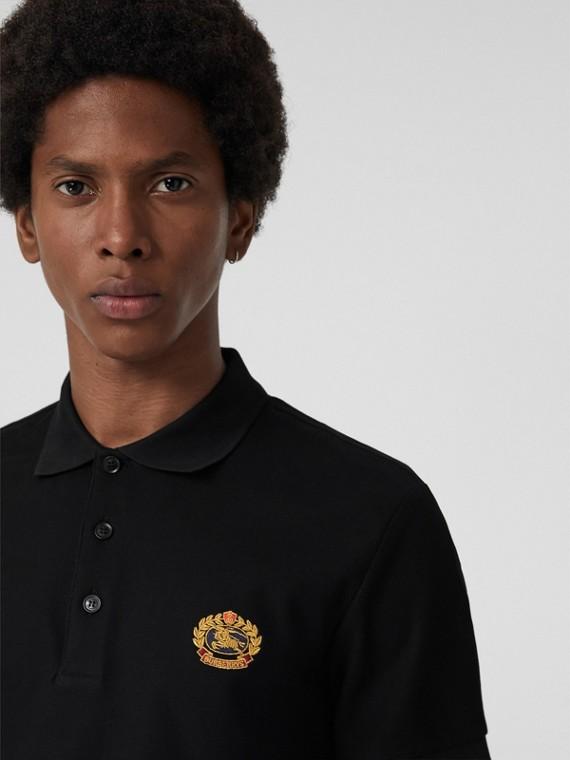 Poloshirt aus Baumwollpiqué mit Vintage-Logo (Schwarz)