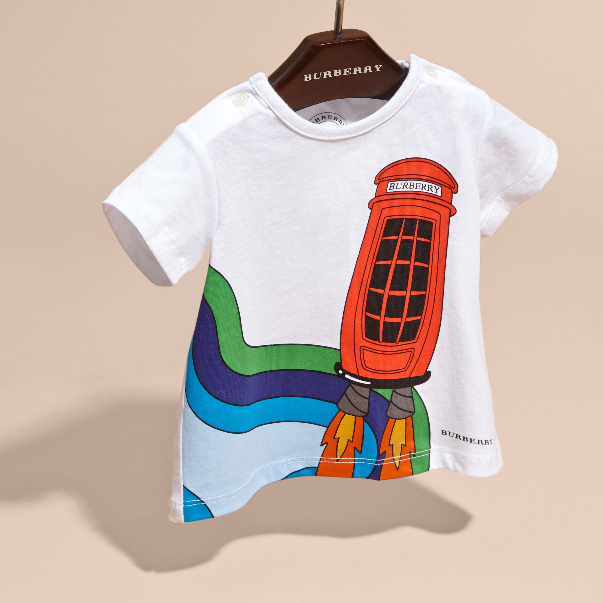 White Rocket Telephone Box Print Cotton T-shirt - gallery image 3