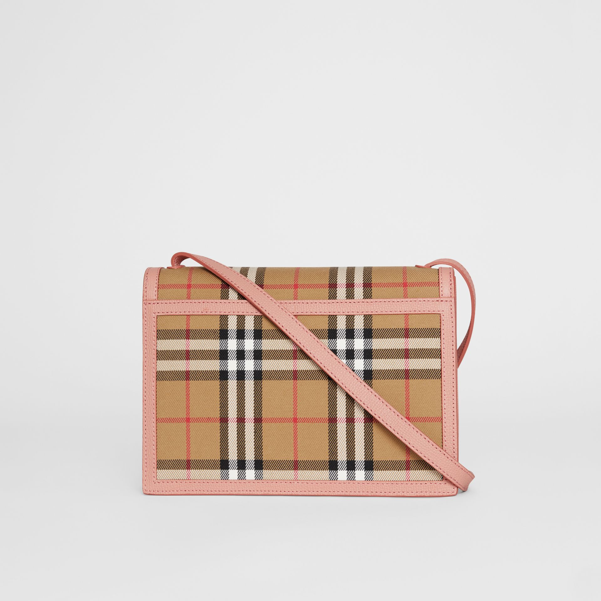 Small Vintage Check and Leather Crossbody Bag in Ash Rose - Women | Burberry Singapore - gallery image 7