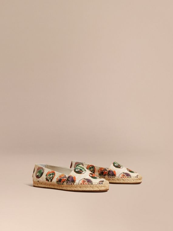 Pallas Heads Print Cotton Espadrilles