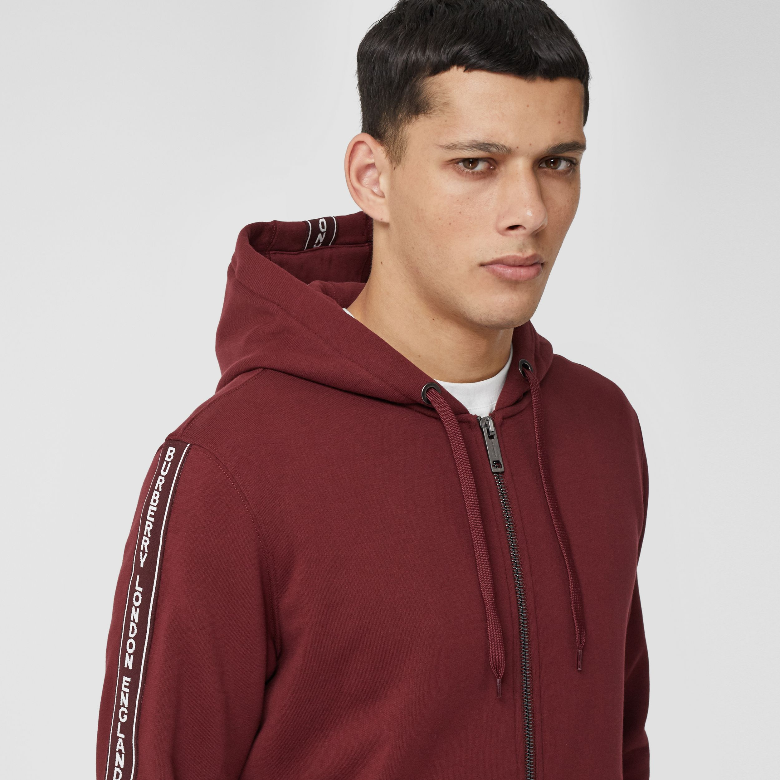 Logo Tape Cotton Hooded Top - Men | Burberry - 2