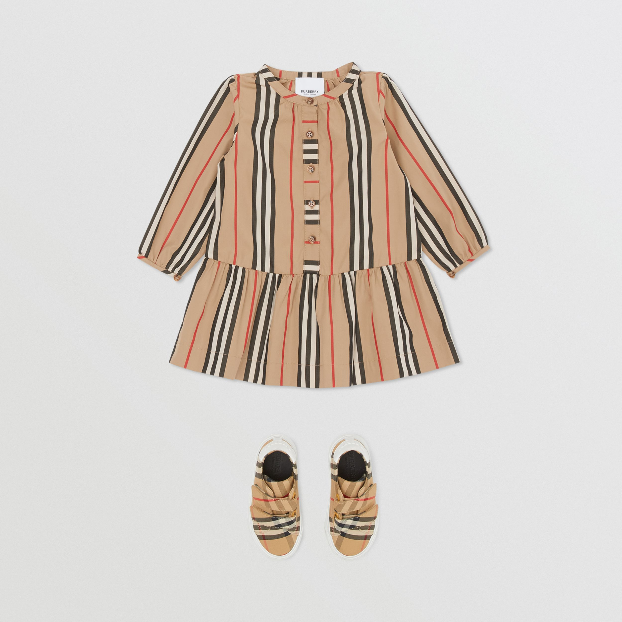 Icon Stripe Gathered Cotton Poplin Dress - Children | Burberry United Kingdom - 3
