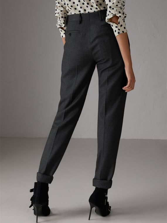 Wool Twill Trousers in Dark Grey Melange - Women | Burberry - cell image 2