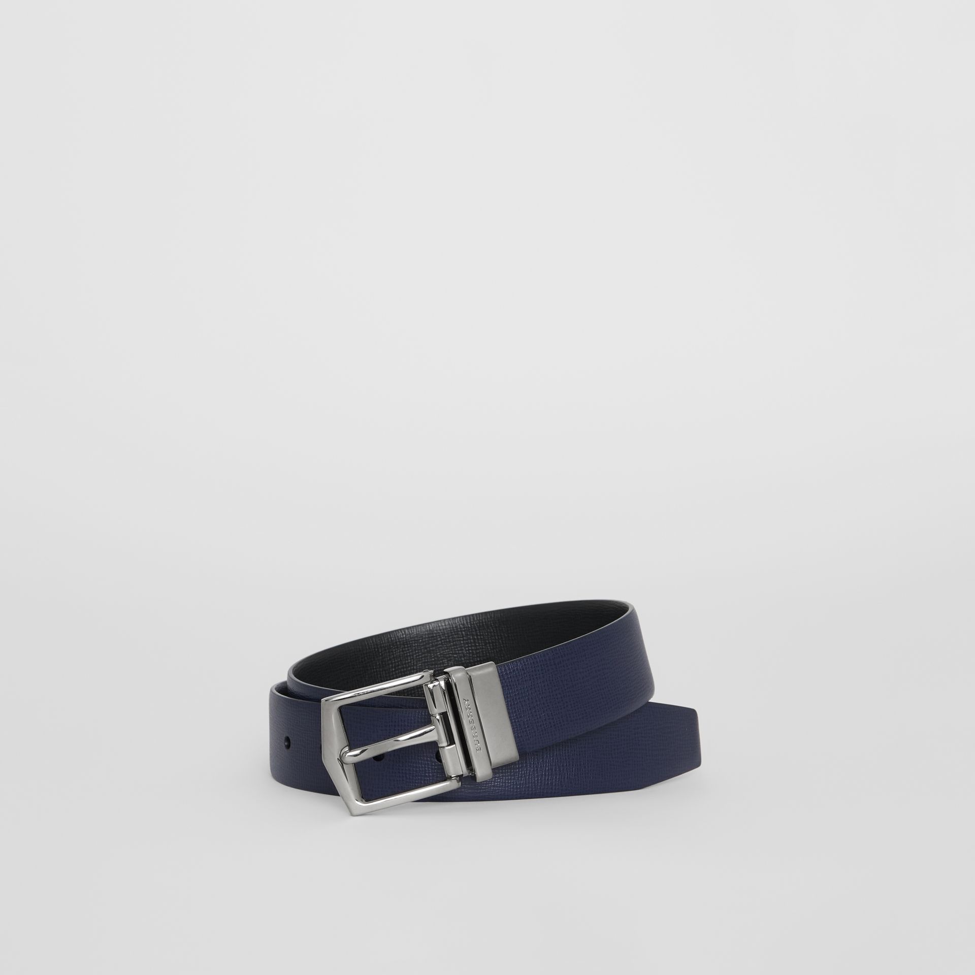 Reversible London Leather Belt in Dark Navy/black - Men | Burberry - gallery image 0