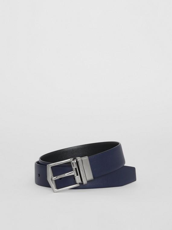 Cinto dupla face de couro London (Azul Marinho Escuro/preto)