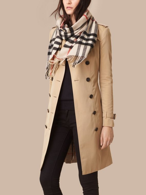 Stone check The Classic Cashmere Scarf in Check Stone - cell image 2