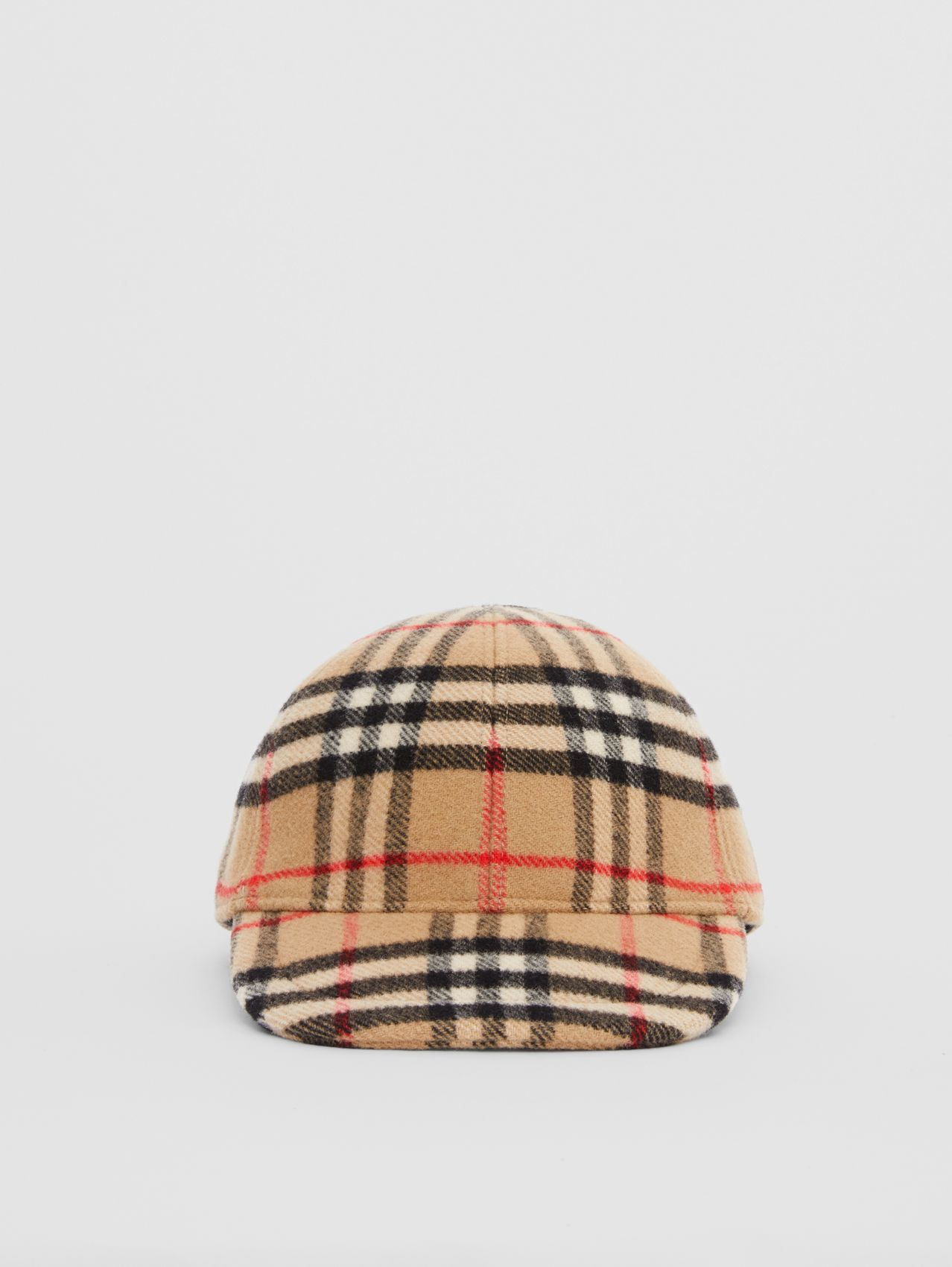 Vintage Check Wool Baseball Cap in Archive Beige