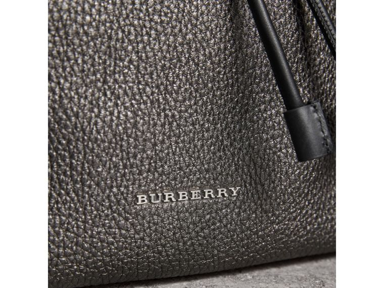 The Medium Rucksack in Metallic Deerskin in Dark Grey - Women | Burberry - cell image 1
