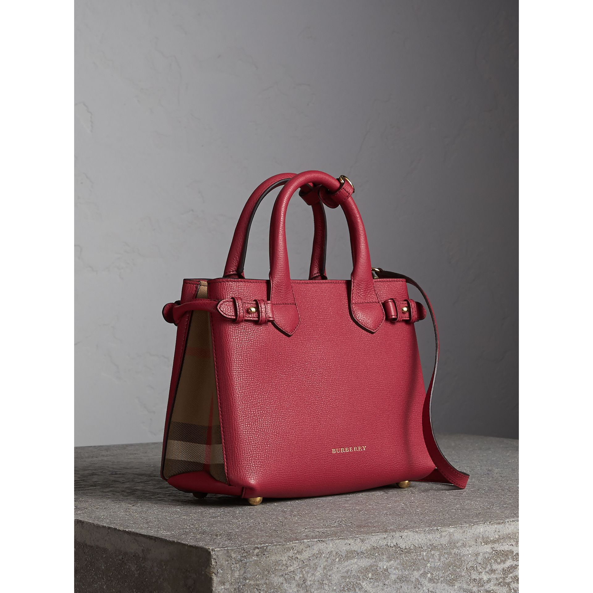 The Small Banner in Leather and House Check in Russet Red - Women | Burberry - gallery image 0