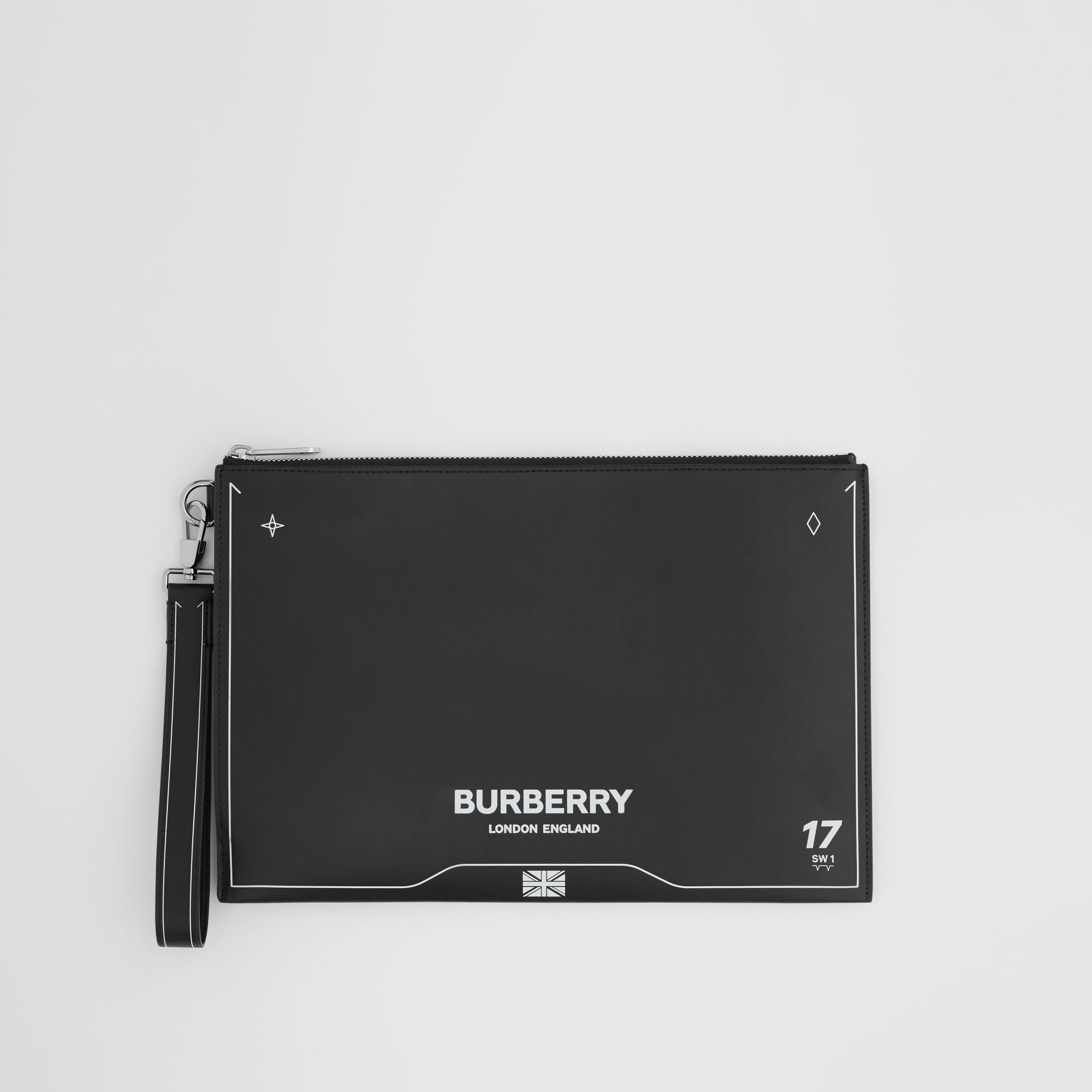 Symbol Print Leather Zip Pouch in Black | Burberry - gallery image 0