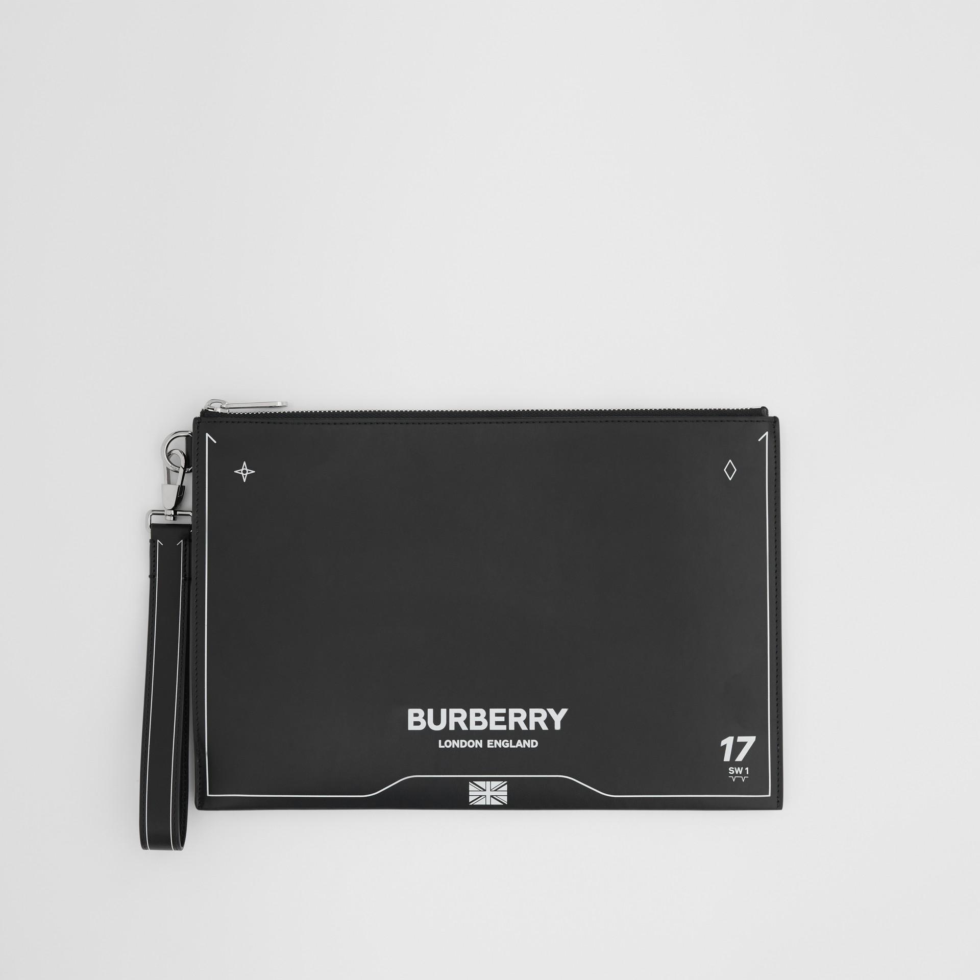 シンボルプリント レザー ジップポーチ (ブラック) | バーバリー - ギャラリーイメージ 0