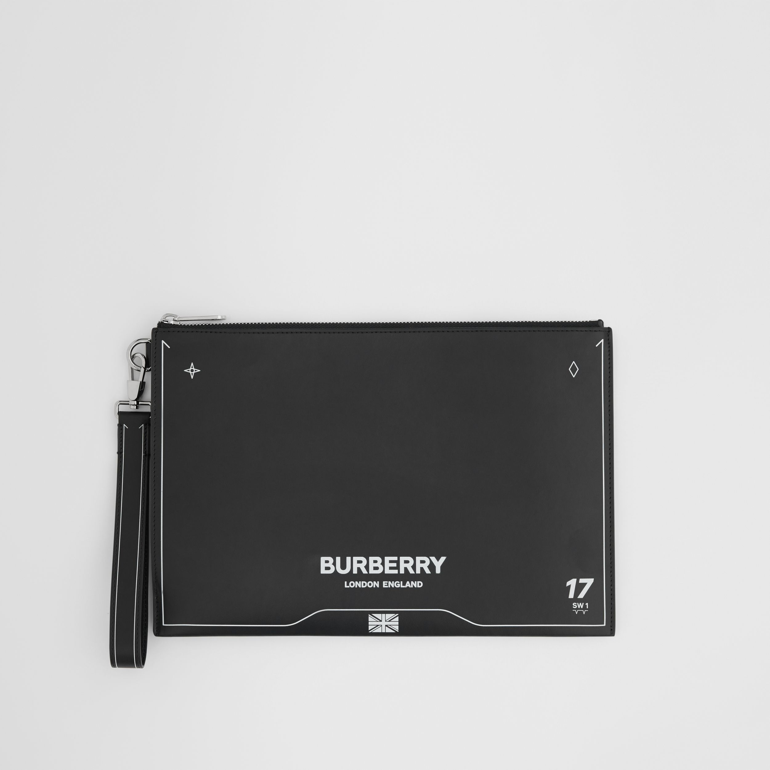 Symbol Print Leather Zip Pouch in Black | Burberry Australia - 1