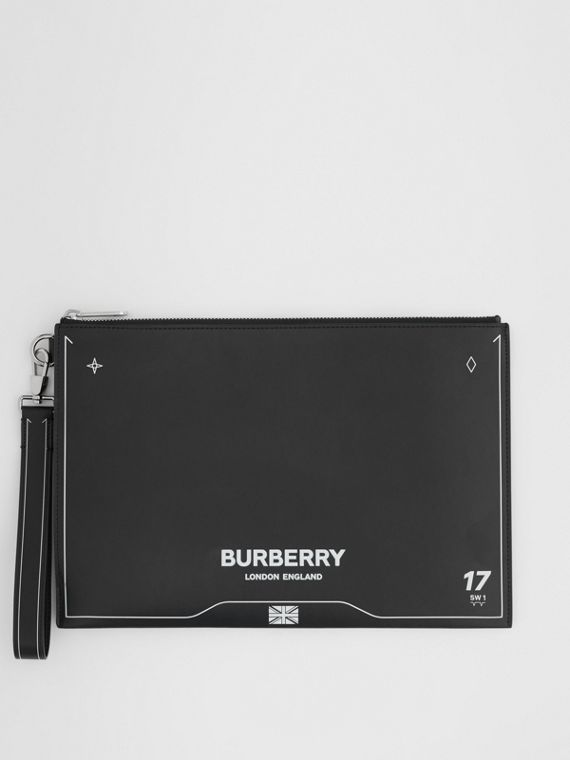 Symbol Print Leather Zip Pouch in Black