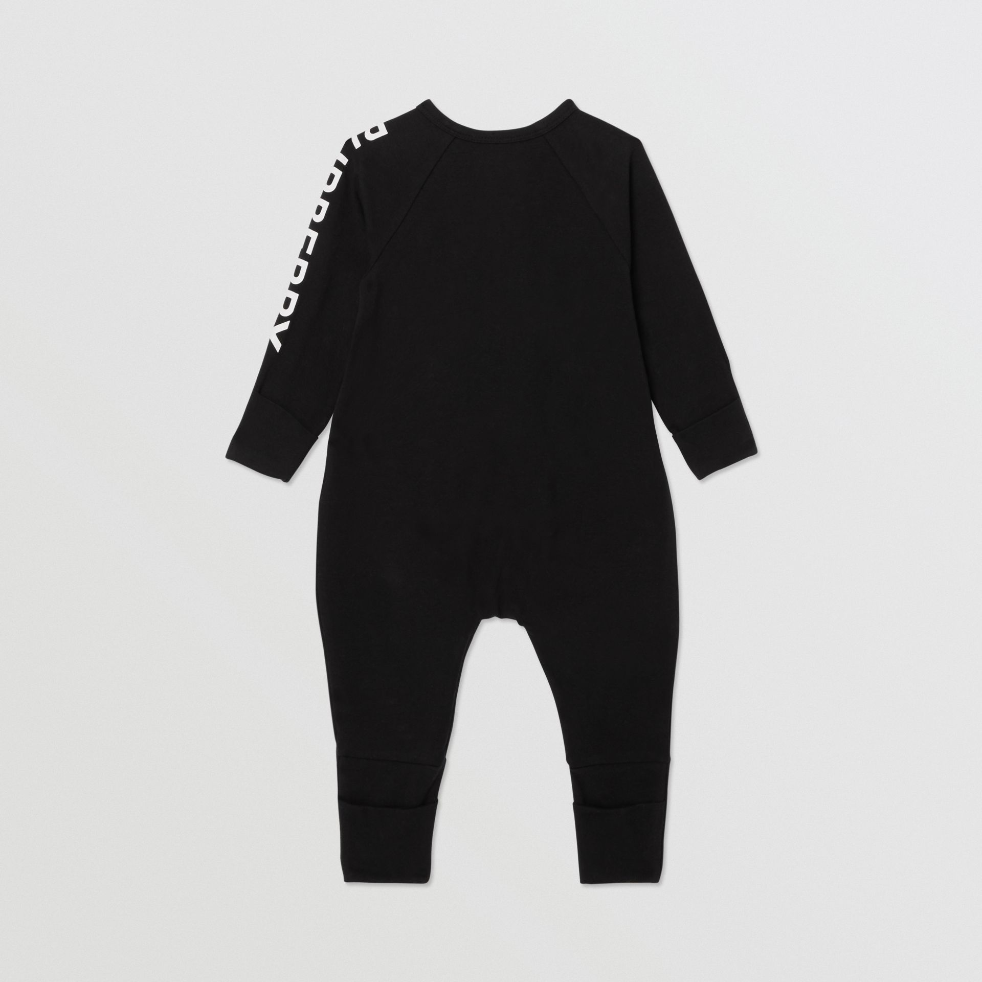 Logo Print Stretch Cotton Two-piece Baby Gift Set in Black - Children | Burberry United Kingdom - gallery image 4