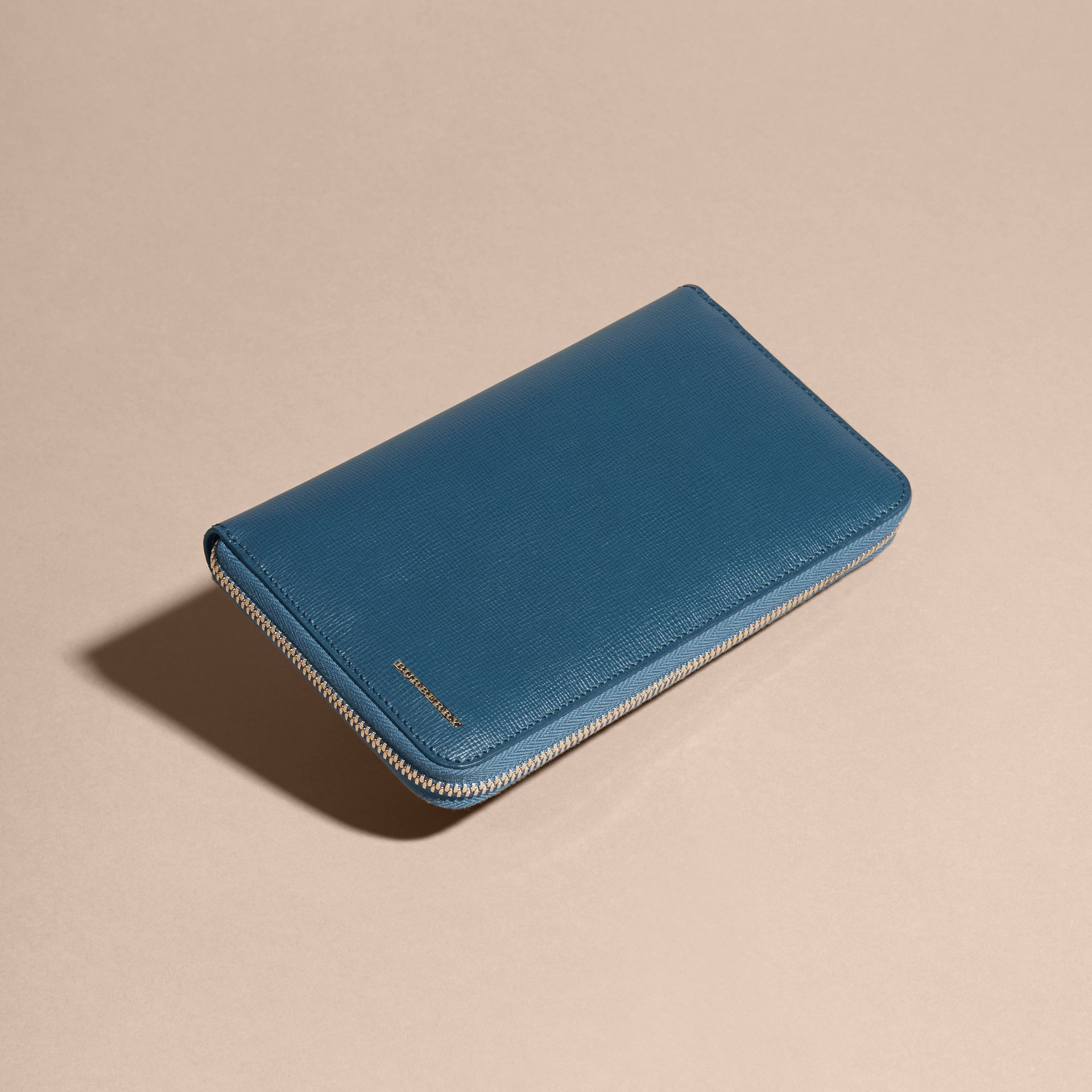 London Leather Ziparound Wallet in Mineral Blue - gallery image 3