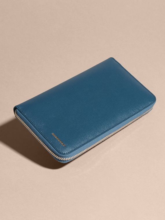 London Leather Ziparound Wallet in Mineral Blue - cell image 2
