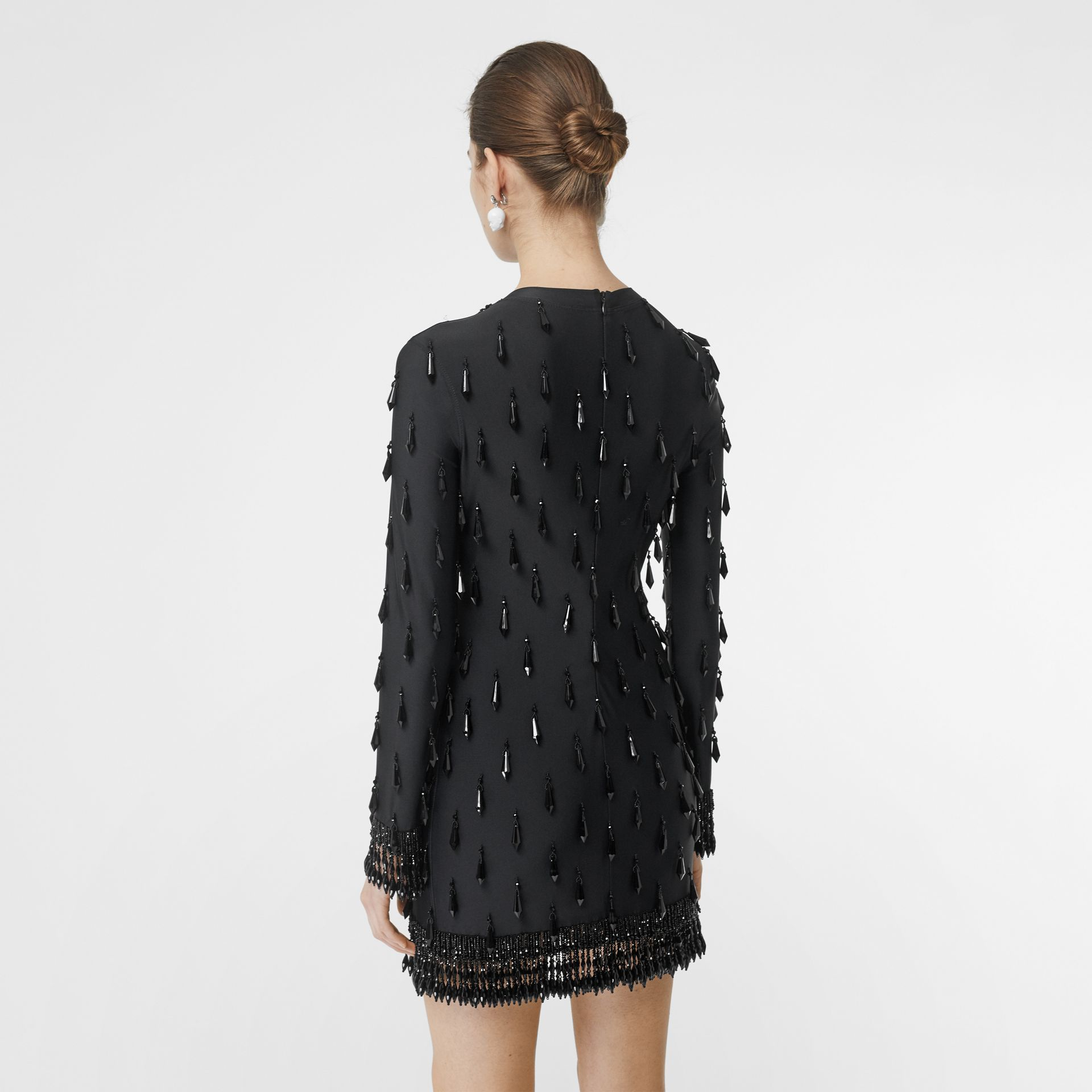 Long-sleeve Embellished Mini Dress in Black - Women | Burberry - gallery image 2