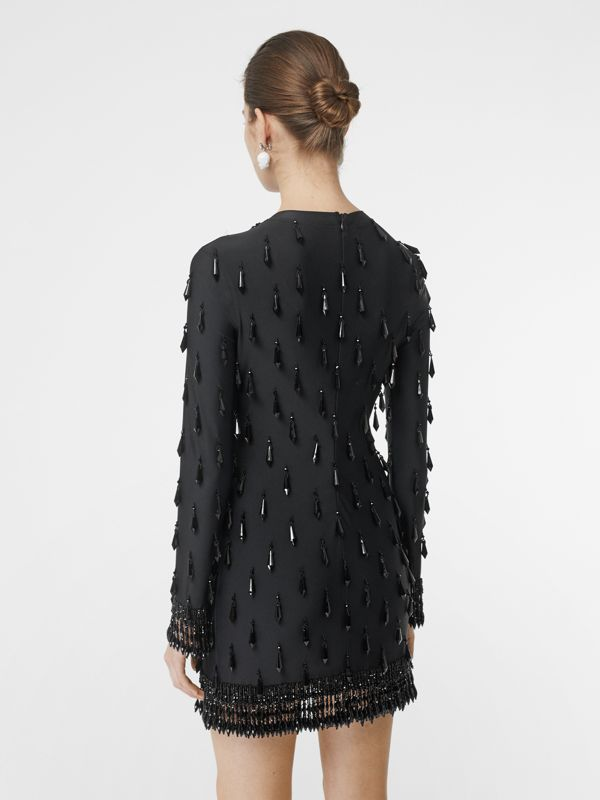 Long-sleeve Embellished Mini Dress in Black - Women | Burberry Hong Kong - cell image 2