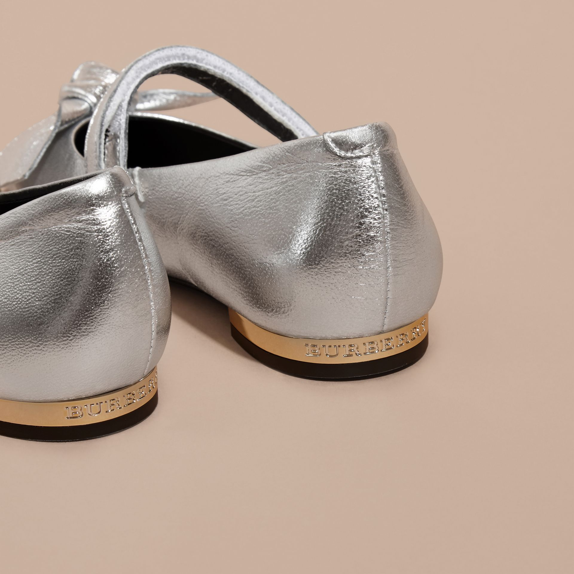 Bow Detail Metallic Leather Ballerinas in Silver - gallery image 2