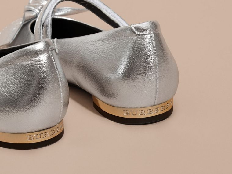 Bow Detail Metallic Leather Ballerinas in Silver - cell image 1