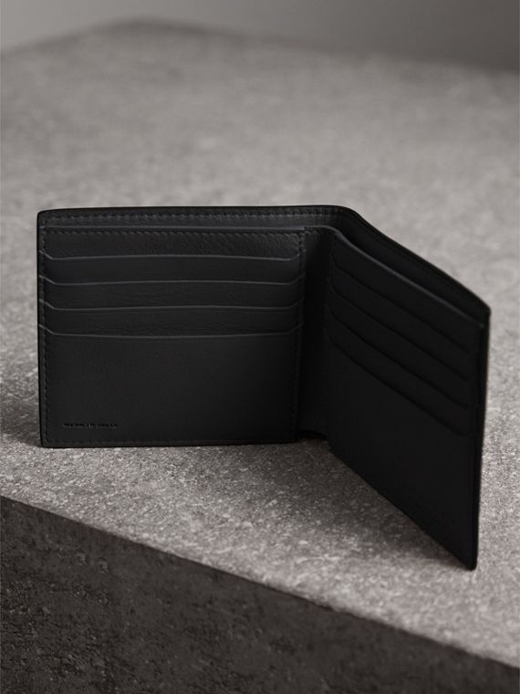 Splash Trench Leather International Bifold Wallet in Black/splash - Men | Burberry - cell image 3