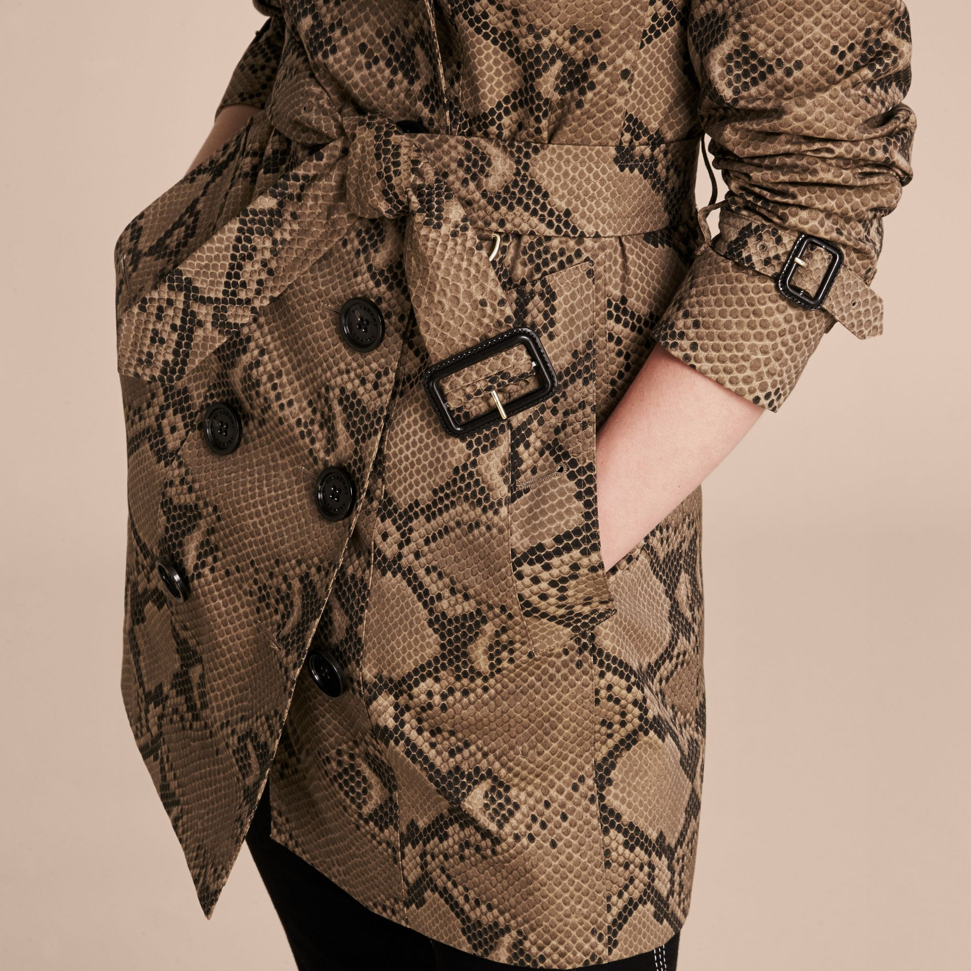 Honey/black Python Print Cotton Trench Coat - gallery image 6