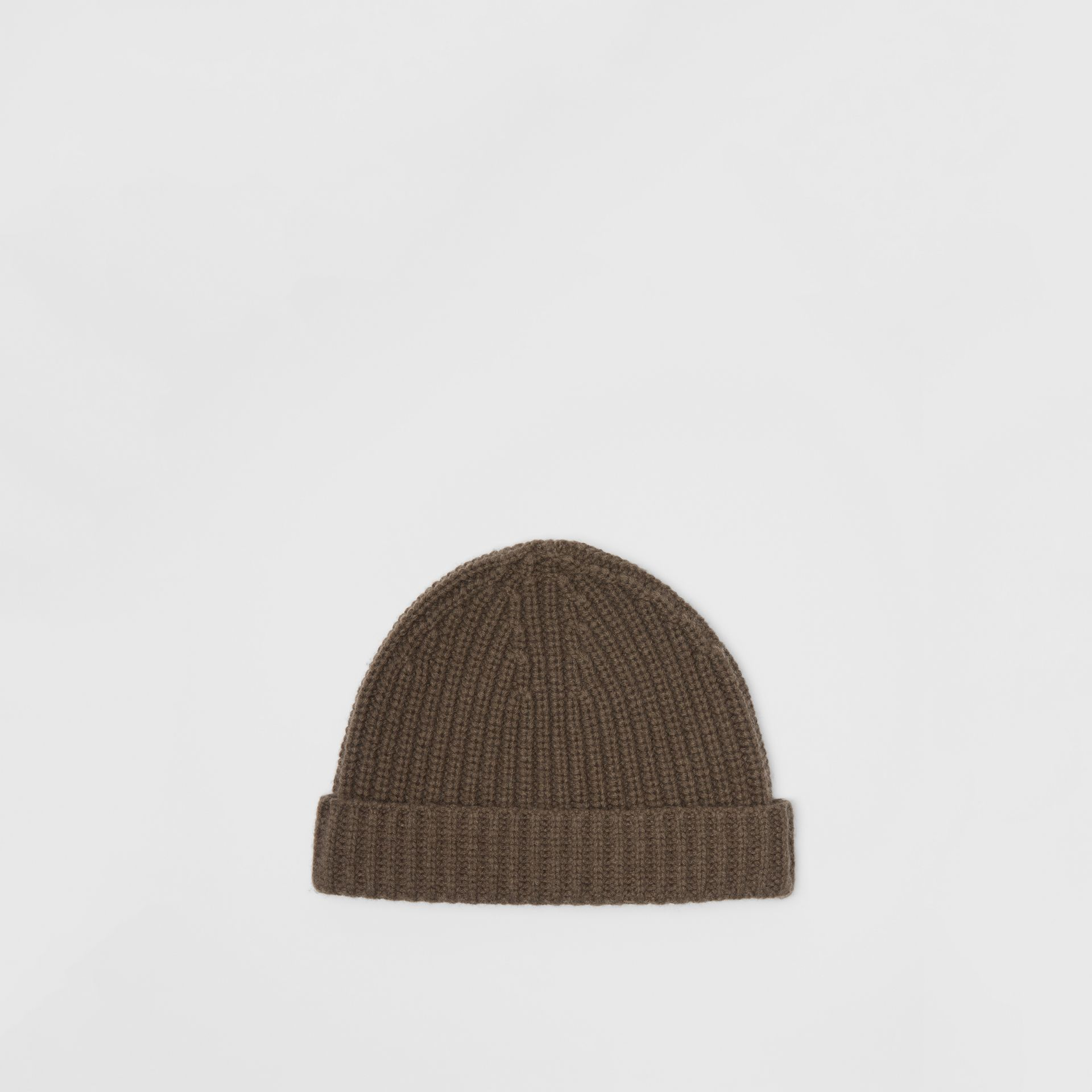 Rib Knit Cashmere Beanie in Olive Green | Burberry - gallery image 4