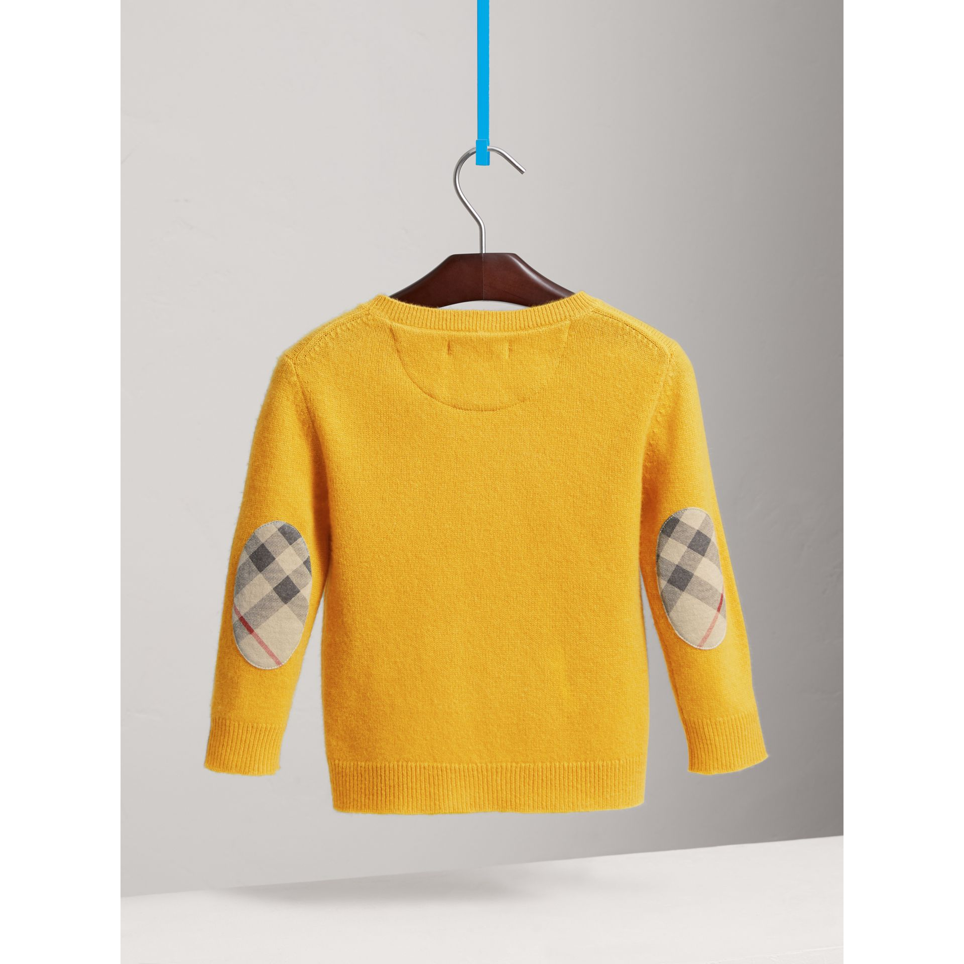 Check Elbow Patch Cashmere Sweater in Amber Yellow - Boy | Burberry United Kingdom - gallery image 3