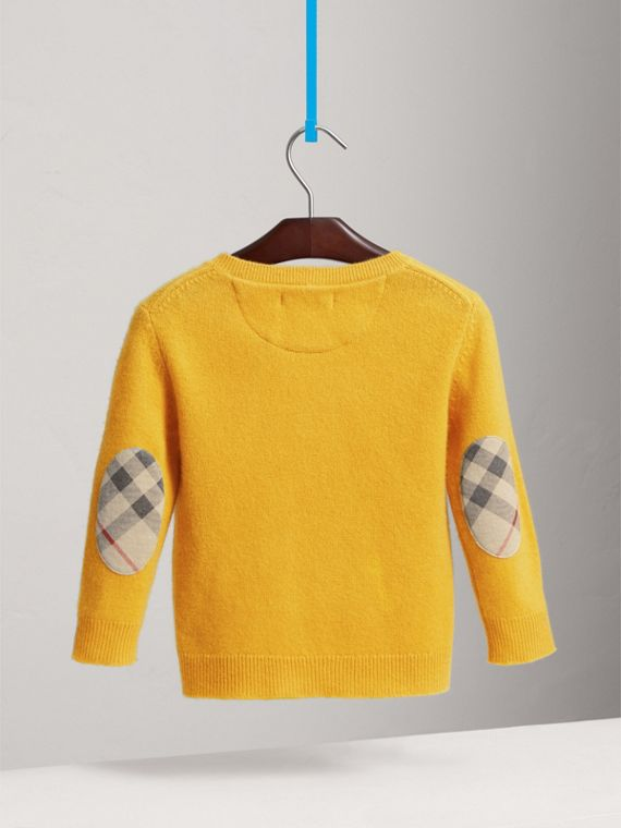 Check Elbow Patch Cashmere Sweater in Amber Yellow - Boy | Burberry United Kingdom - cell image 3