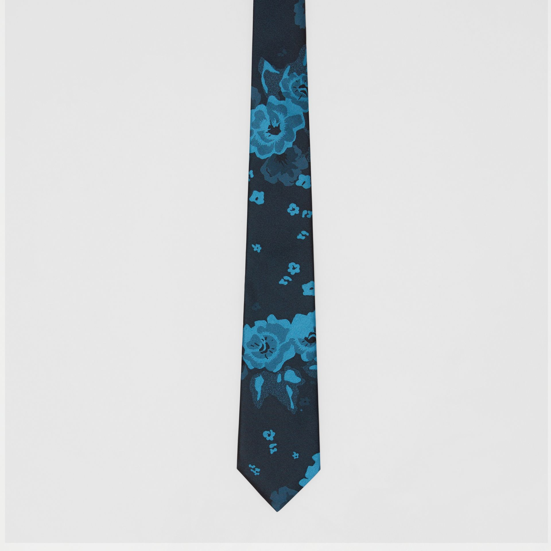 Slim Cut Floral Silk Tie in Dark Cyan - Men | Burberry - gallery image 4