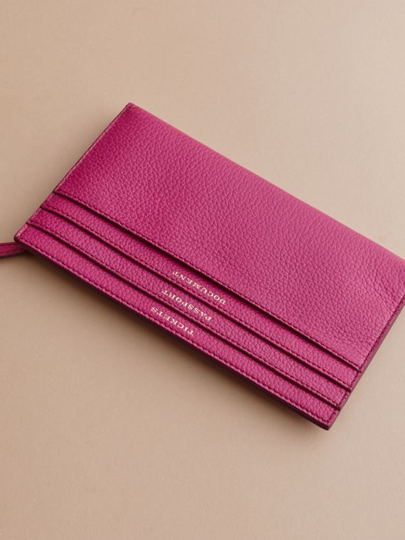 Grainy Leather Travel Case in Brilliant Fuchsia - Women | Burberry - cell image 2
