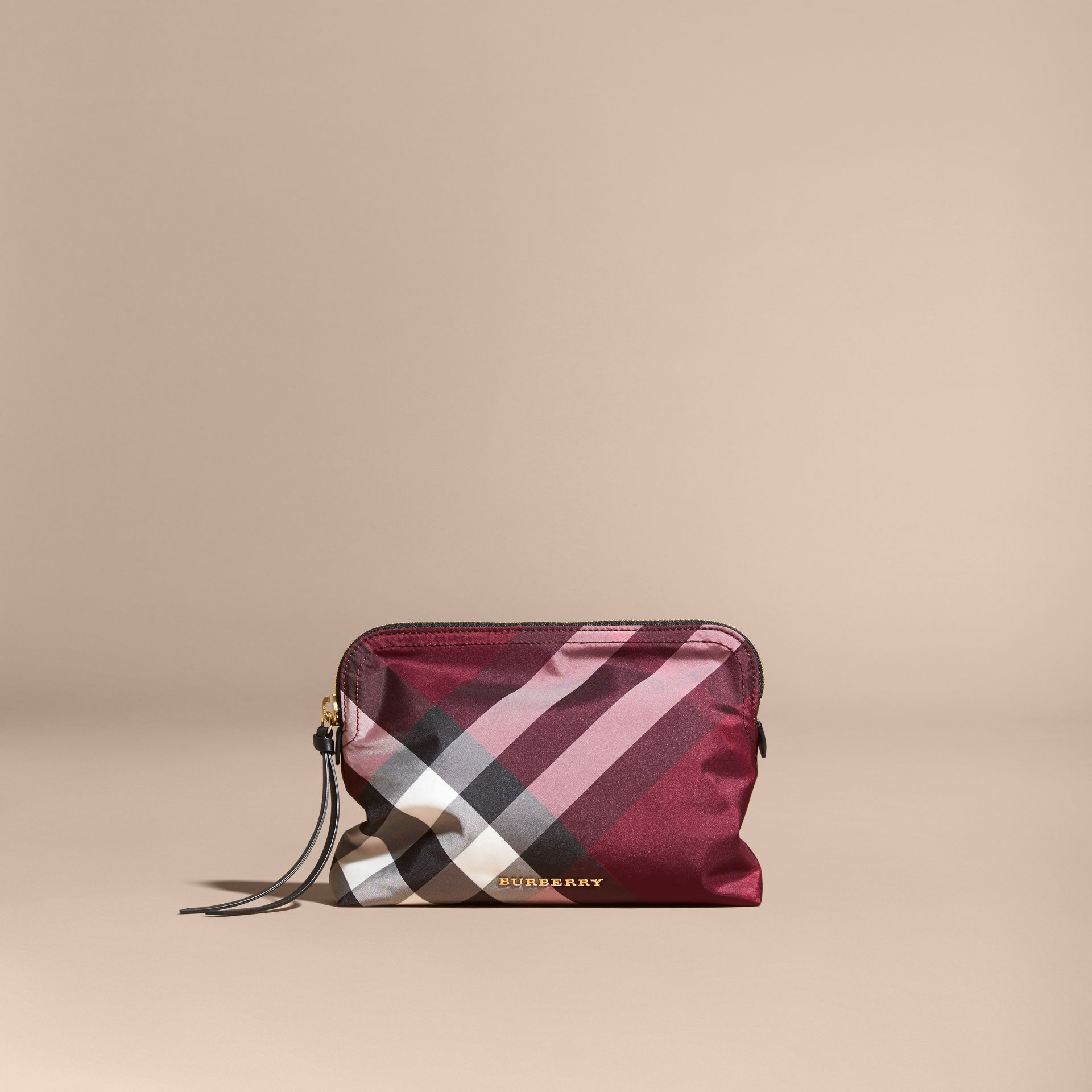Large Zip-top Check Pouch in Plum - Women | Burberry Australia - gallery image 6