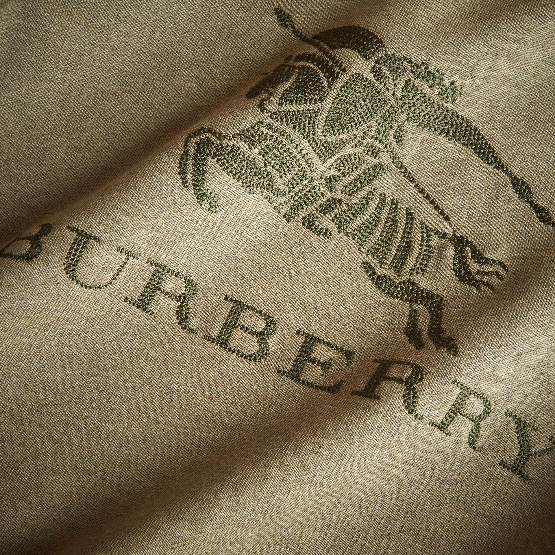 Embroidered Cotton Jersey Sweatshirt in Khaki Green Melange | Burberry - gallery image 2