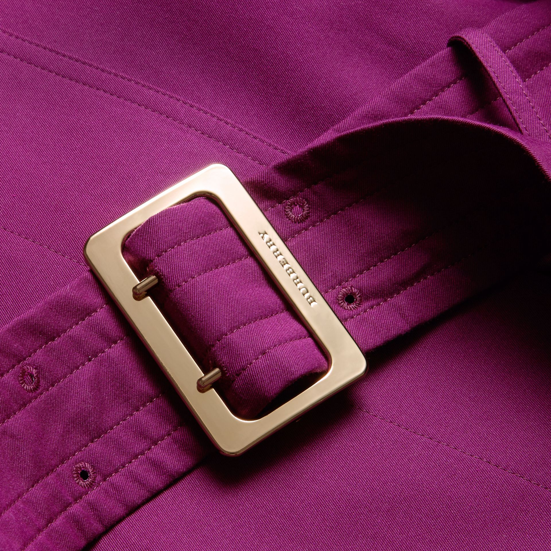 Single-breasted Trench Coat with Metal Buckle Detail Magenta Pink - gallery image 2