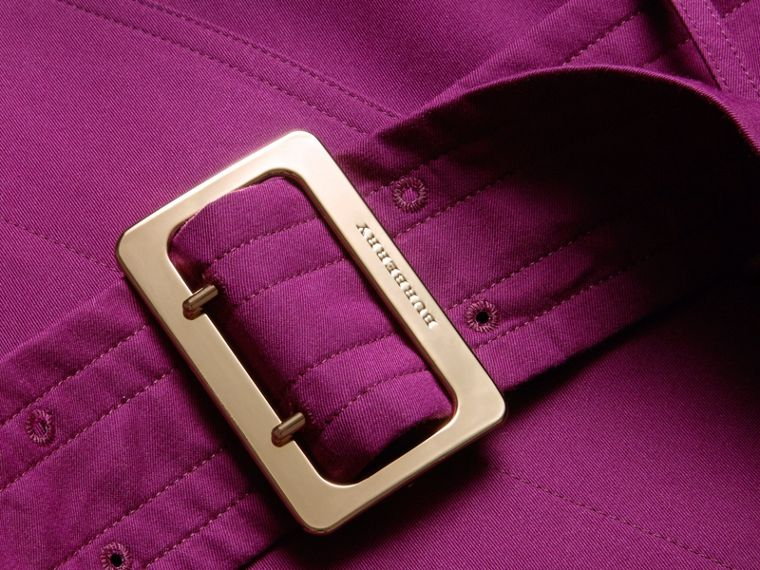 Single-breasted Trench Coat with Metal Buckle Detail Magenta Pink - cell image 1