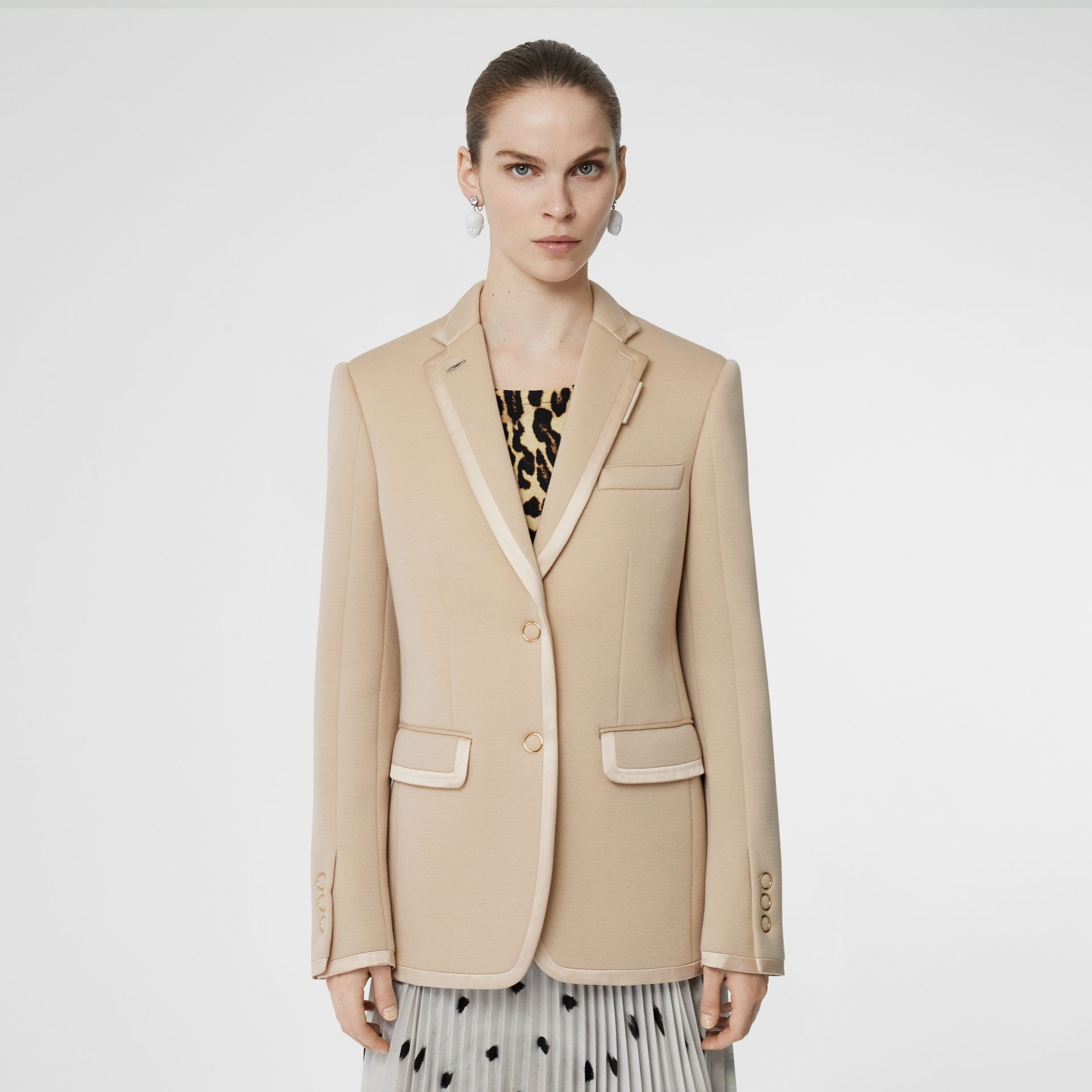 Silk Trim Neoprene Blazer in Teddy Beige - Women | Burberry - gallery image 5