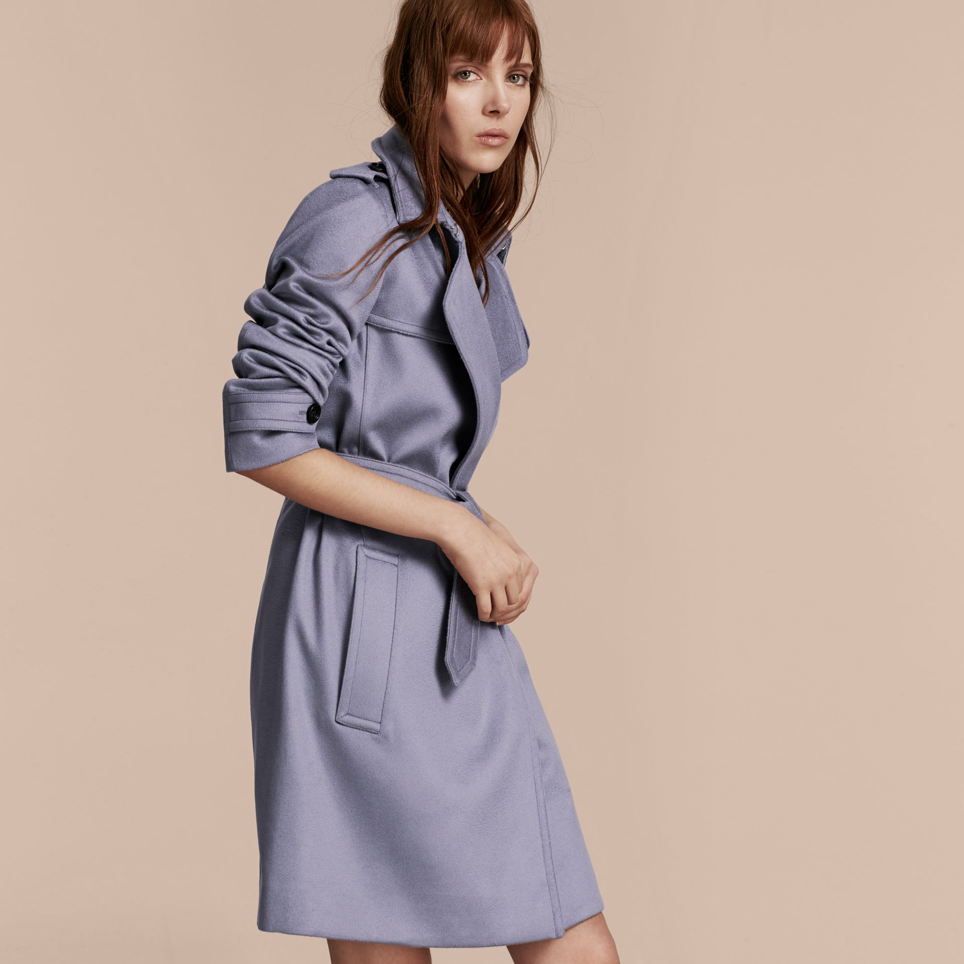 Cashmere Wrap Trench Coat in Dusty Blue - gallery image 7