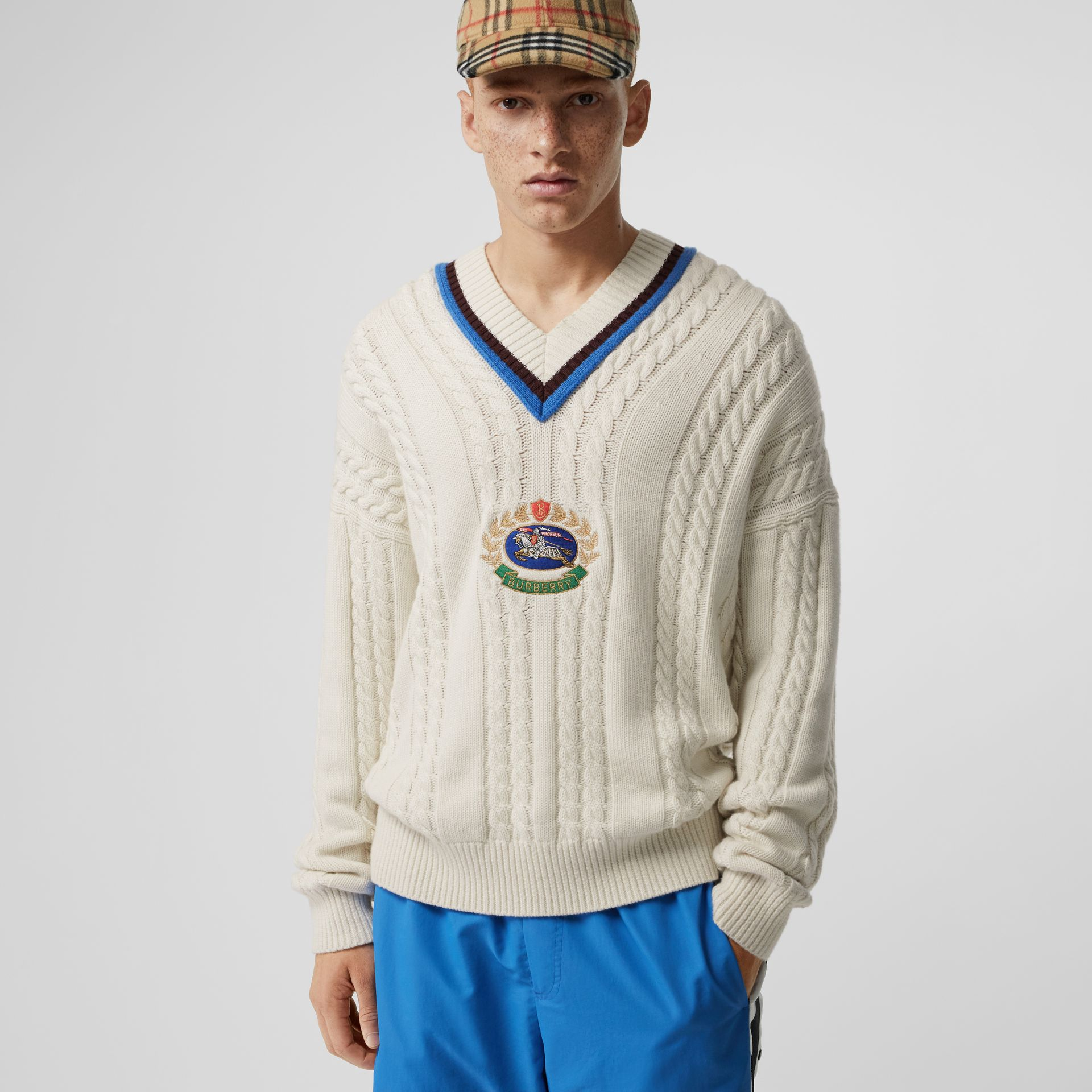 Cashmere Cotton Cricket Sweater in Natural White - Men | Burberry - gallery image 4