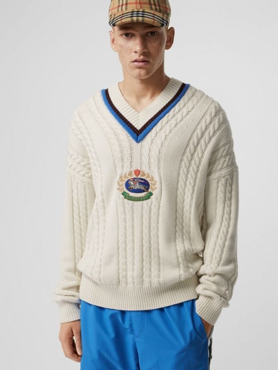 Cashmere Cotton Cricket Sweater in Natural White