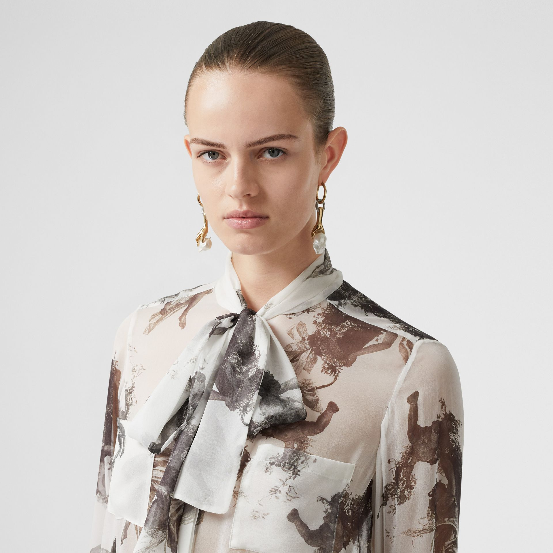 Angel Print Silk Chiffon Pussy-bow Blouse in Black - Women | Burberry United Kingdom - gallery image 5