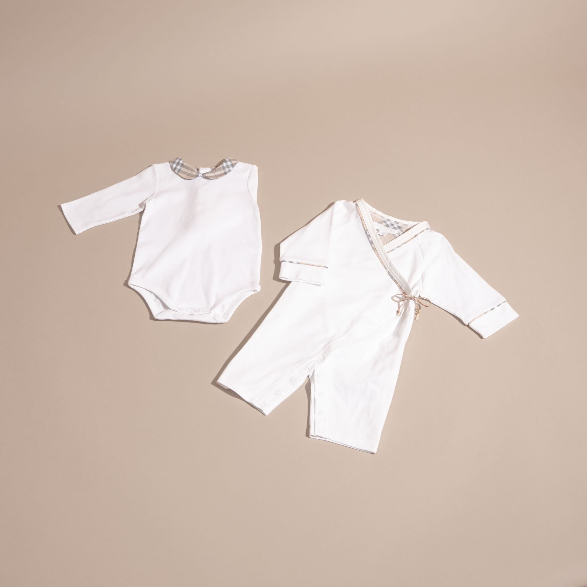 Cotton Six-piece Baby Gift Set in White | Burberry - gallery image 3
