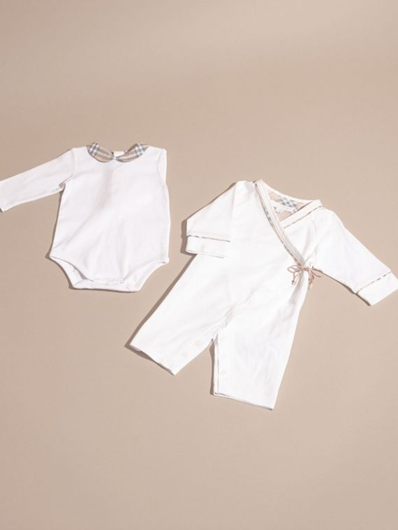 White Cotton Six-piece Baby Gift Set - cell image 2