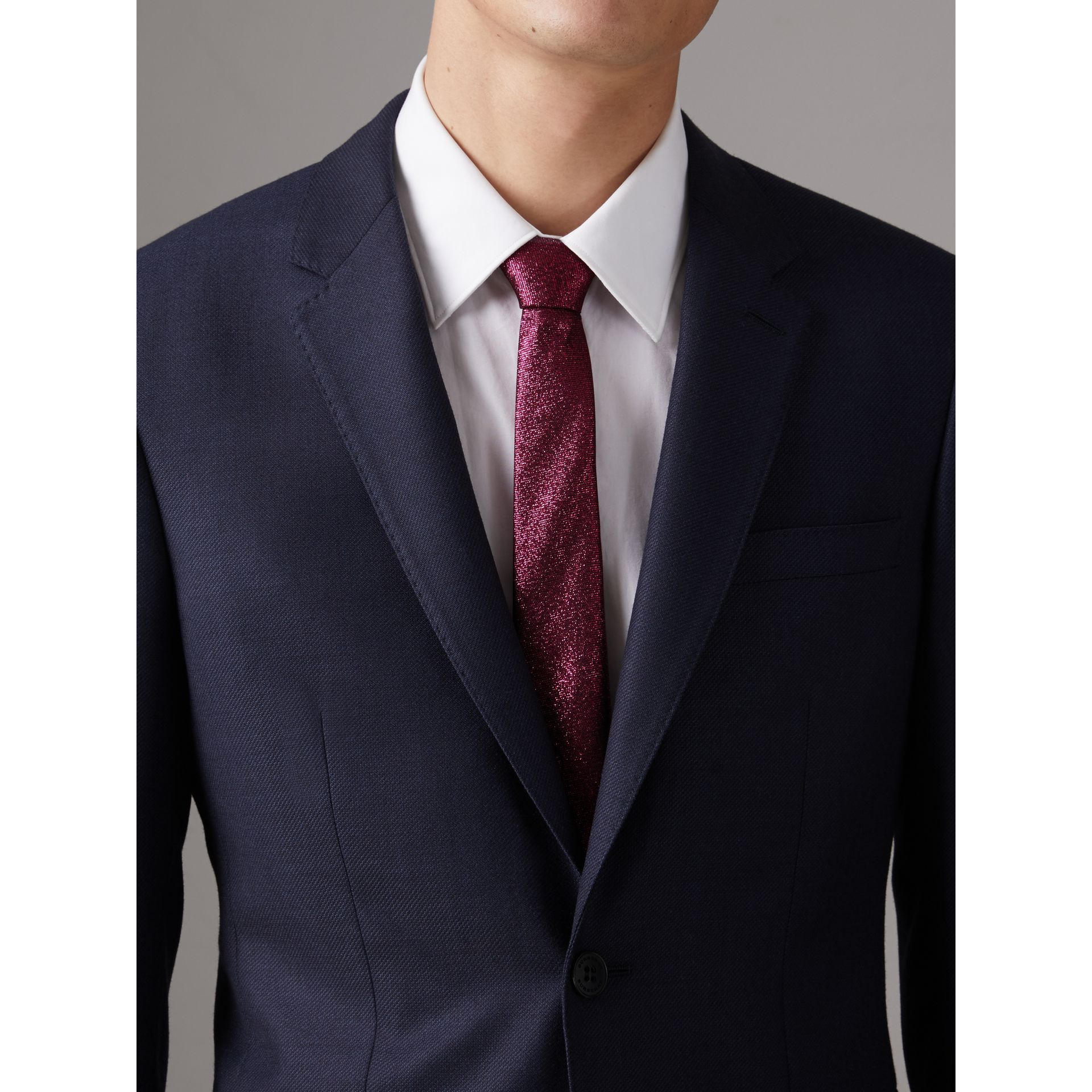 Slim Cut Metallic Silk Blend Tie in Bright Fuschia - Men | Burberry - gallery image 2