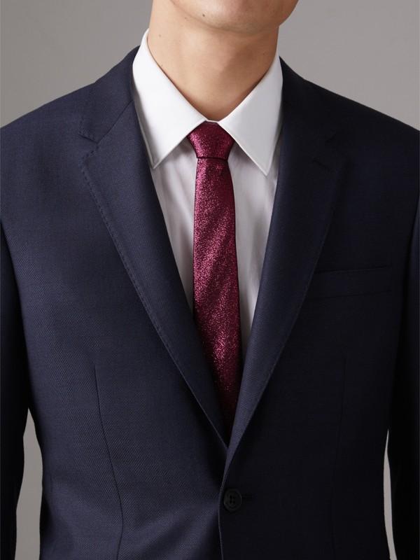 Slim Cut Metallic Silk Blend Tie in Bright Fuschia - Men | Burberry - cell image 2