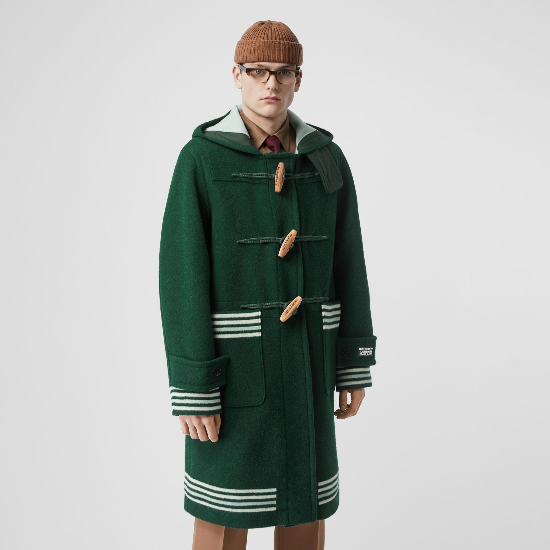 Stripe Detail Double-faced Wool Duffle Coat in Dark Pine Green - Men | Burberry - gallery image 6
