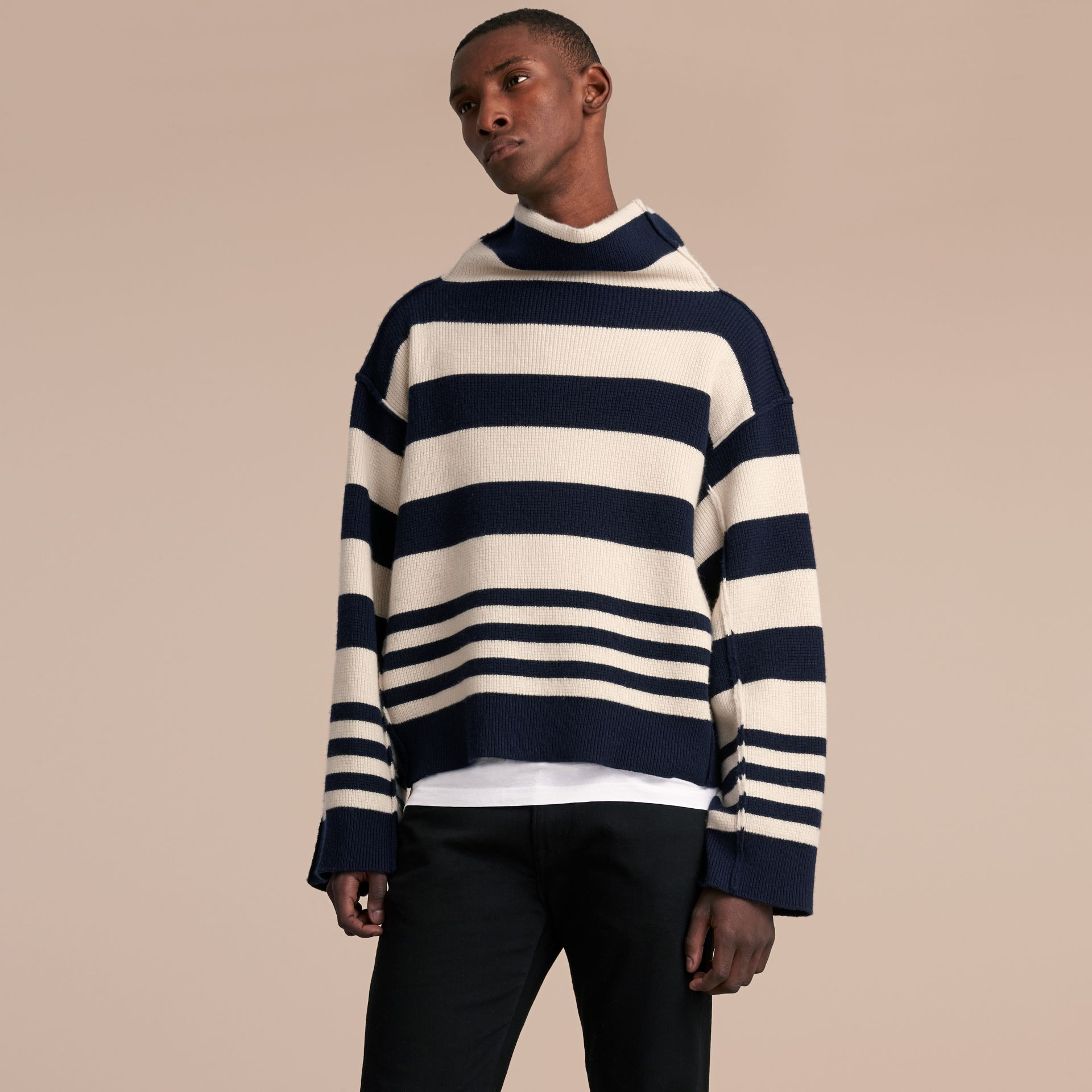 Striped Knitted Cashmere Roll-neck Sweater - Men | Burberry - gallery image 6