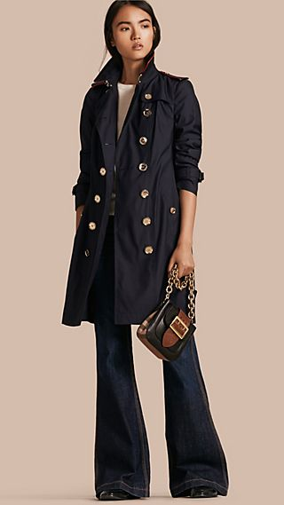 Silk Wool Trench Coat with Piping Detail