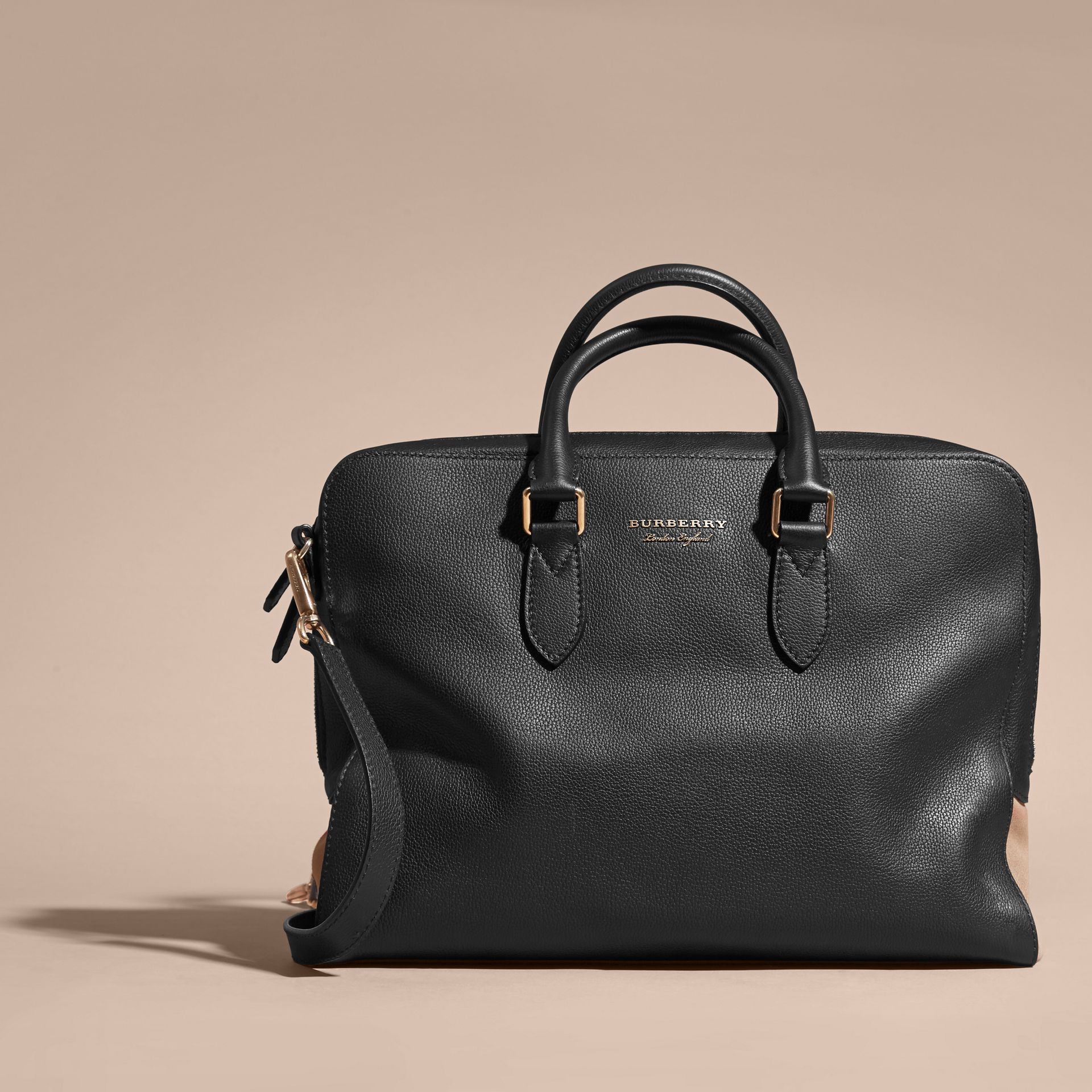 Leather and House Check Briefcase Black - gallery image 9
