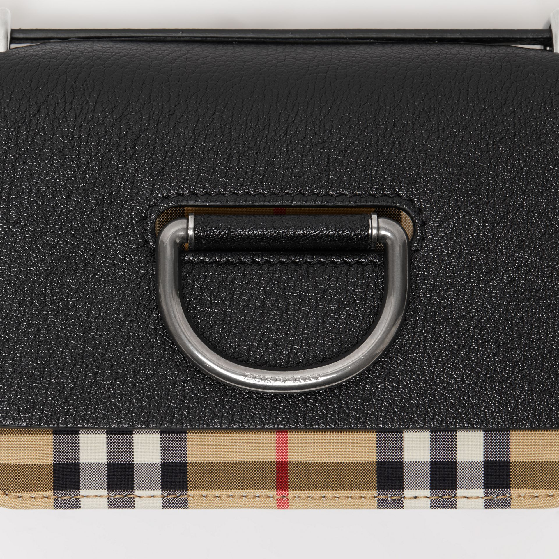 The Mini Vintage Check and Leather D-ring Bag in Black - Women | Burberry Canada - gallery image 1