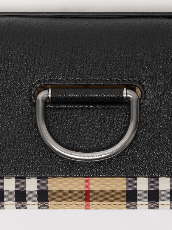 The Mini Vintage Check and Leather D-ring Bag in Black - Women | Burberry Singapore - cell image 1